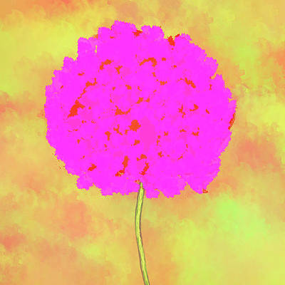 Flower On Yellow Art Print by Skip Nall