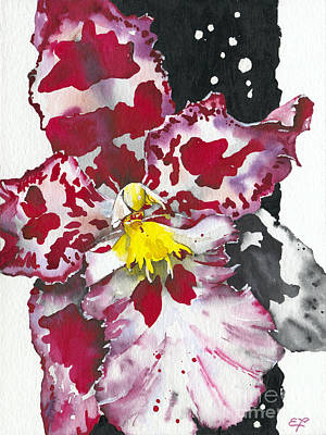 Watercolor Painting - Flower Orchid 11 Elena Yakubovich by Elena Yakubovich