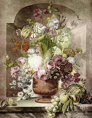 Bunch Of Grapes Painting - Flower Painting by Pieter van Loo
