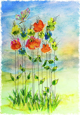 Mixed Media - Flower Patch With Butterfly by Peter V Quenter
