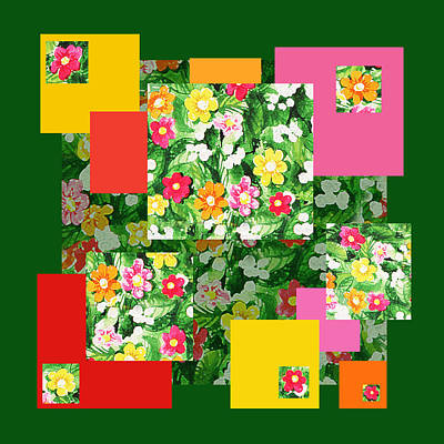 Painting - Flower Pattern Art Quilt I by Irina Sztukowski