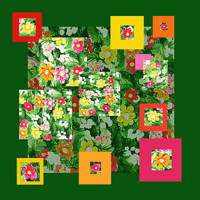 Painting - Flower Pattern Art Quilt IIi by Irina Sztukowski
