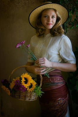 Portraits Photograph - Flower Peddler by Jean Hildebrant