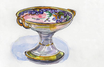 Painting - Flower Pedestal Dish by Julie Maas