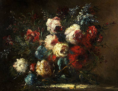 Flower Piece Art Print by Narcisse Virgile Diaz de la Pena