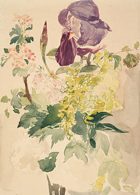 Painting - Flower Piece With Iris Laburnum And Geranium by Edouard Manet