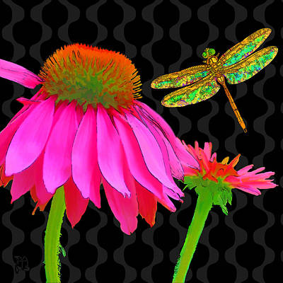 Glass Dragonfly Painting - Flower Pop, Floral Pop Art Echinacea, Dragonfly by Tina Lavoie