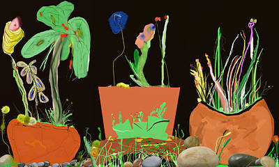 Digital Art - Flower Pot Panel by SC Heffner