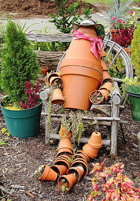 Photograph - Flower Pot Person by Allen Nice-Webb