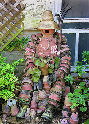 Photograph - Flower Pot Person, Garden Art by Betty Denise