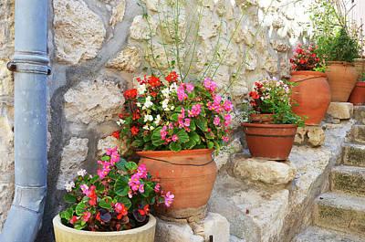 Photograph - Flower Pots In Les Baux by Carla Parris
