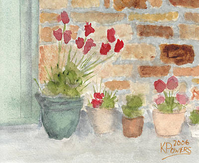 Mortar Painting - Flower Pots by Ken Powers