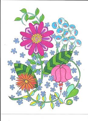 Drawing - Flower Power 3 by Roberta Dunn