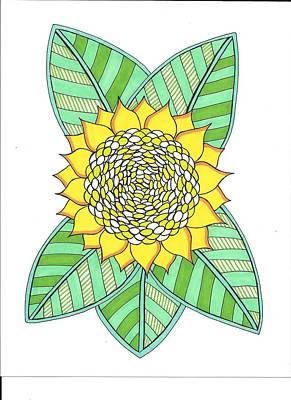 Drawing - Flower Power 6 by Roberta Dunn