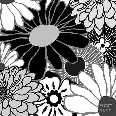 Seventies Painting - Flower Power Black And White by Mindy Sommers
