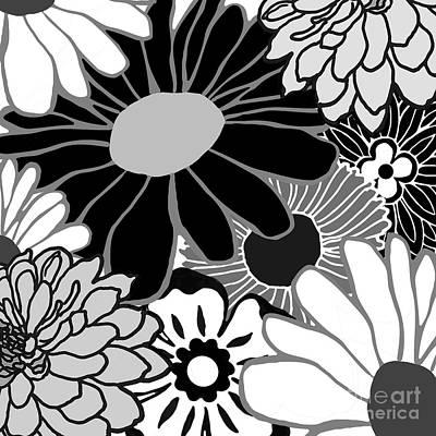 Studio Grafika Zodiac - Flower Power Black and White by Mindy Sommers