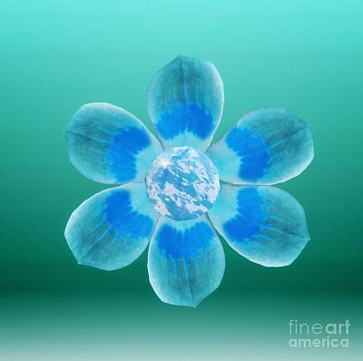 Digital Art - Flower Power Blue by Rachel Hannah