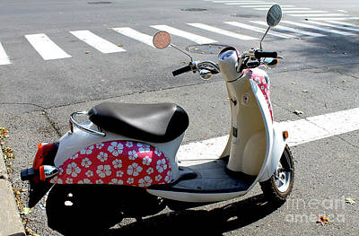 Photograph - Flower Power For A Montreal Motor Scooter by Nina Silver