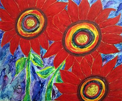 Sunflower Mixed Media - Flower Power by M  Stuart