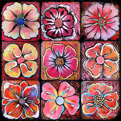 Vibrant Painting - Flower Power Montage by Shadia Derbyshire