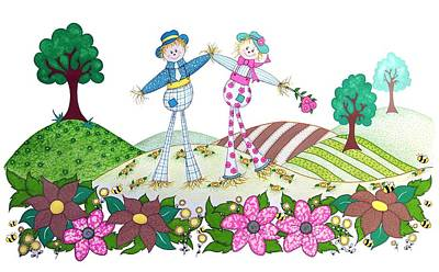 Fun Flowers Drawing - Flower Power Scarecrows by Sandra Moore