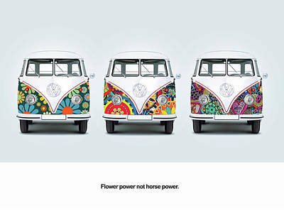 Vintage Bus Photograph - Flower Power Vw by Mark Rogan