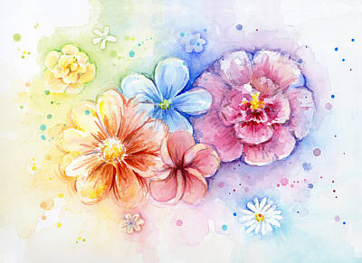 Rainbow Rose Painting - Flower Power Watercolor by Olga Shvartsur