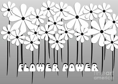 Digital Art - Flower Power - White  by Beverley Brown