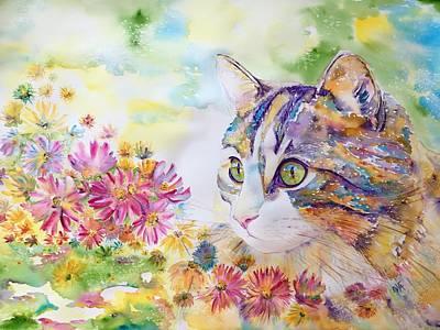 Painting - Flower princess by Evita Kristapsone