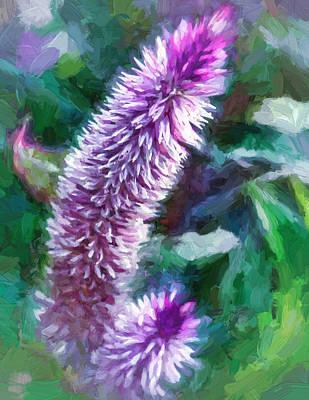 Loom Digital Art - Flower - Purple Celosia - Deep Purple by Black Brook Photography
