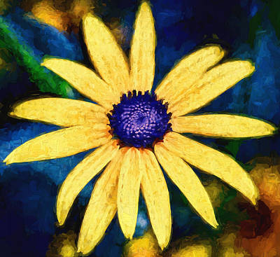 Black Top Digital Art - Flower - Rudbeckia - Yellow Petals And Blue Buttons by Black Brook Photography