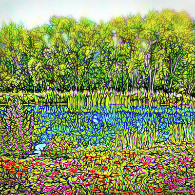 Digital Art - Flower Scented Pond - Colorado Lake With Trees And Flowers by Joel Bruce Wallach