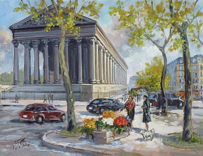 Paris Painting - Flower Seller At La Madelaine, Paris by Irek Szelag