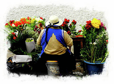 Indian Lady Photograph - Flower Seller, Cuenca, Ecuador II by Al Bourassa