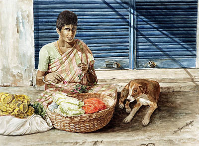 Painting - Flower Seller by Sethu Madhavan