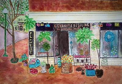Painting - Flower Shop Amesbury by Anne Sands