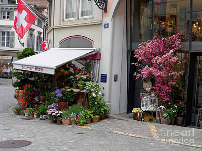 Photograph - Flower Shop In Old Town Zurich Switzerland by Louise Heusinkveld