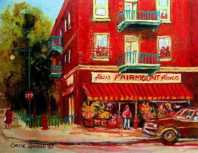 Montreal Buildings Painting - Flower Shop On The Corner by Carole Spandau