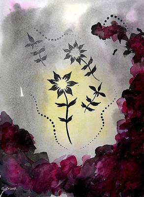 Painting - Flower Silhouette 4 by Carol Crisafi