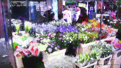 Digital Art - Flower Stall by Roger Lighterness