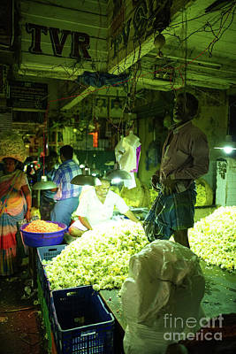 Real Life Photograph - Flower Stalls Market Chennai India by Mike Reid
