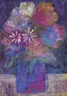 Painting - Flower Still Life Sgraffito Painting by Martin Stankewitz
