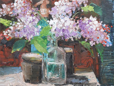 Painting - Flower Still Life,blooming Lilac by Martin Stankewitz