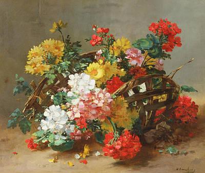 Red Geraniums Painting - Flower Study by Eugene Henri Cauchois