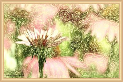 Framed Digital Art Mixed Media - Flower Talk In Abstract by Debra Lynch