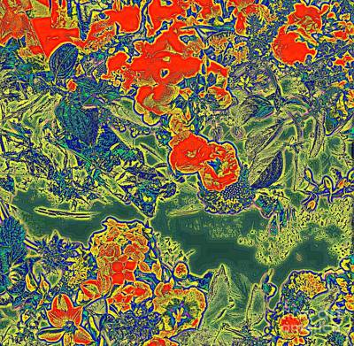 Digital Art - Flower Tapestry - Red And Green by Nancy Kane Chapman