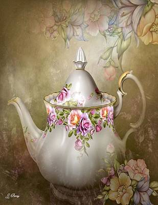 Glass Wall Mixed Media - Flower Tea Pot by G Berry