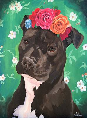 Painting - Flower The Pitbull by Elisa Bolanos