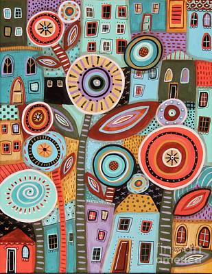 Abstract Pattern Painting - Flower Town1 by Karla Gerard