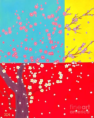 Cherry Blossoms Painting - Flower Tree by Wonju H